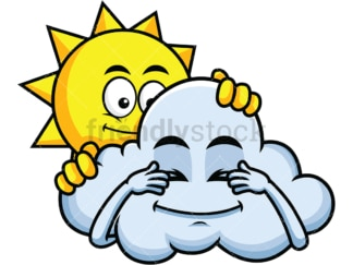 Sun and cloud playing hide and seek emoticon. PNG - JPG and vector EPS file formats (infinitely scalable). Image isolated on transparent background.