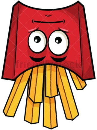Upside down french fries emoticon. PNG - JPG and vector EPS file formats (infinitely scalable). Image isolated on transparent background.