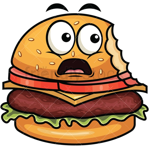 Bitten hamburger emoticon. PNG - JPG and vector EPS file formats (infinitely scalable). Image isolated on transparent background.