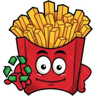 Fries emoticon with recycle icon. PNG - JPG and vector EPS file formats (infinitely scalable). Image isolated on transparent background.