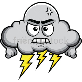 Storm and thunder angry cloud emoticon. PNG - JPG and vector EPS file formats (infinitely scalable). Image isolated on transparent background.