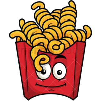 Curly french fries emoticon. PNG - JPG and vector EPS file formats (infinitely scalable). Image isolated on transparent background.