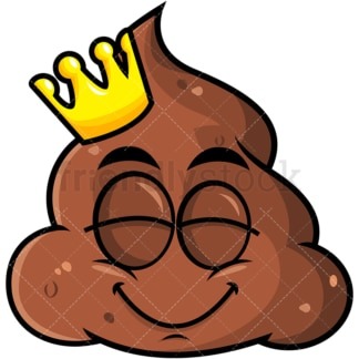 King poop emoticon with crown. PNG - JPG and vector EPS file formats (infinitely scalable). Image isolated on transparent background.