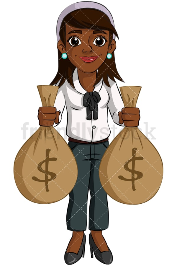 Black businesswoman holding money sacks. PNG - JPG and vector EPS (infinitely scalable). Image isolated on transparent background.