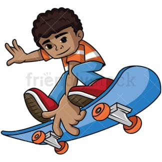 Black kid on skateboard. PNG - JPG and vector EPS file formats (infinitely scalable). Image isolated on transparent background.