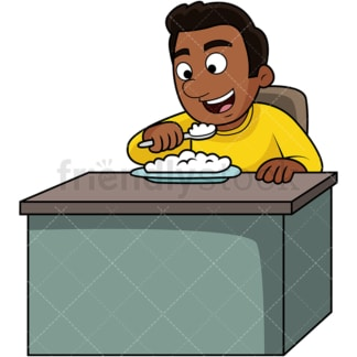 Black man enjoying rice. PNG - JPG and vector EPS. Image isolated on transparent background.