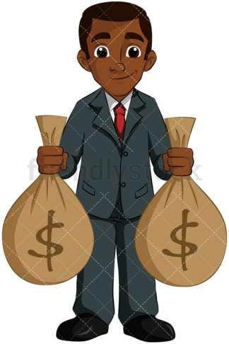 Black man holding money bags. PNG - JPG and vector EPS (infinitely scalable). Image isolated on transparent background.