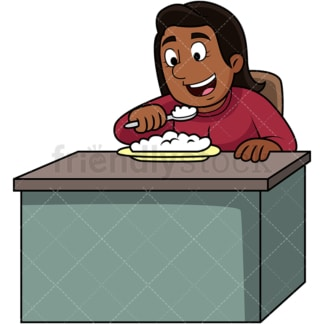 Black woman enjoying rice. PNG - JPG and vector EPS. Image isolated on transparent background.