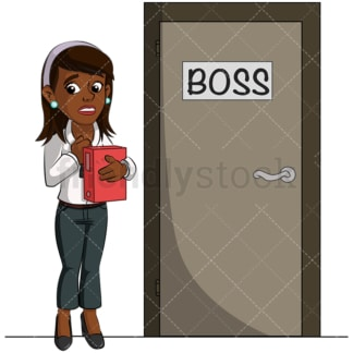 Black woman getting interviewed. PNG - JPG and vector EPS (infinitely scalable). Image isolated on transparent background.
