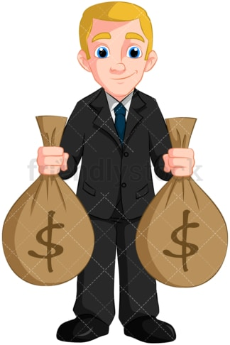 Businessman holding money bags. PNG - JPG and vector EPS (infinitely scalable). Image isolated on transparent background.
