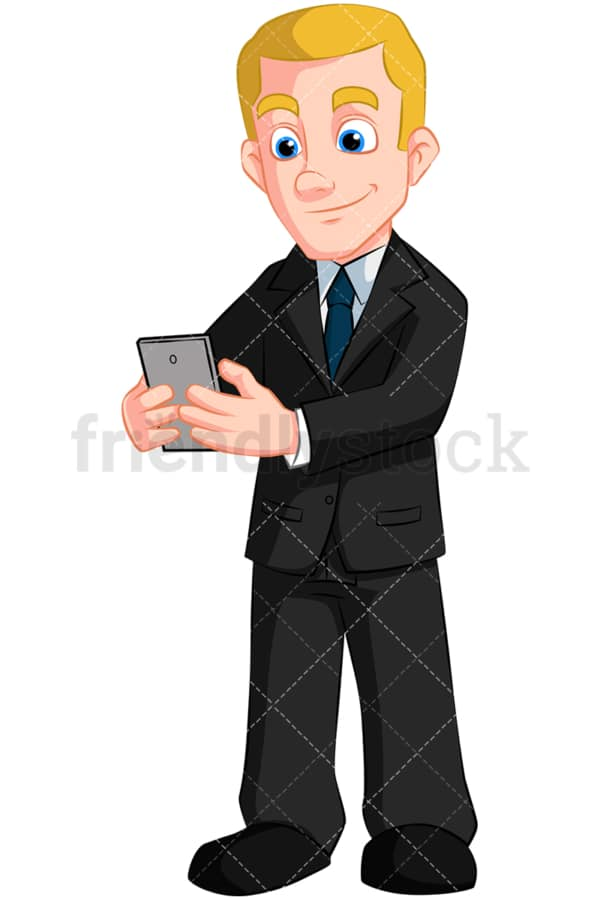 Businessman texting with his phone. PNG - JPG and vector EPS (infinitely scalable). Image isolated on transparent background.