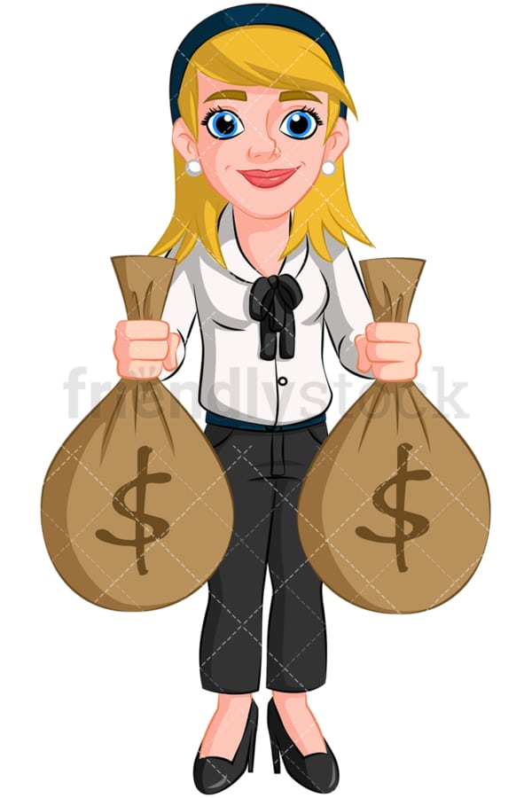Businesswoman holding money bags. PNG - JPG and vector EPS (infinitely scalable). Image isolated on transparent background.