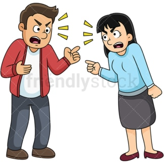 Couple fighting. PNG - JPG and vector EPS file formats (infinitely scalable). Image isolated on transparent background.