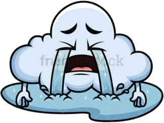 Crying with wailing tears cloud emoticon. PNG - JPG and vector EPS file formats (infinitely scalable). Image isolated on transparent background.