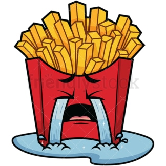 Crying with wailing tears french fries emoticon. PNG - JPG and vector EPS file formats (infinitely scalable). Image isolated on transparent background.