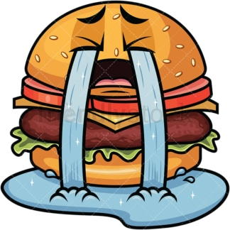 Crying with wailing tears hamburger emoticon. PNG - JPG and vector EPS file formats (infinitely scalable). Image isolated on transparent background.