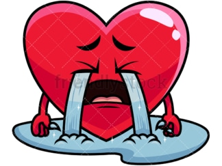 Crying with wailing tears heart emoticon. PNG - JPG and vector EPS file formats (infinitely scalable). Image isolated on transparent background.