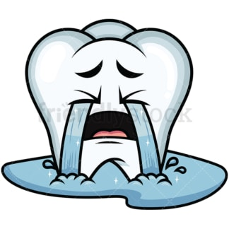 Crying with wailing tears tooth emoticon. PNG - JPG and vector EPS file formats (infinitely scalable). Image isolated on transparent background.