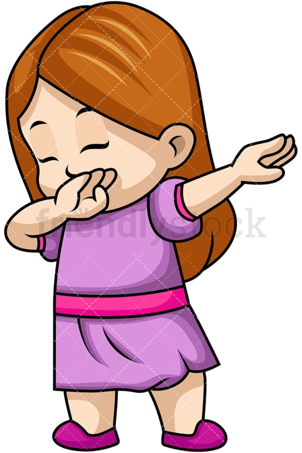 Dabbing little girl. PNG - JPG and vector EPS file formats (infinitely scalable). Image isolated on transparent background.