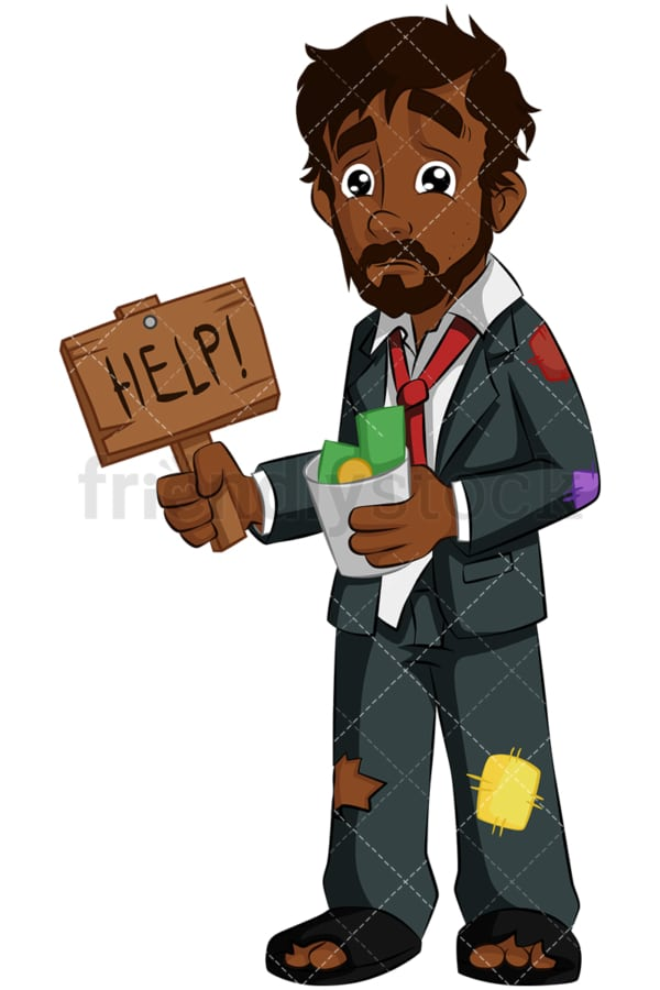 Destitute black businessman needs help. PNG - JPG and vector EPS (infinitely scalable). Image isolated on transparent background.