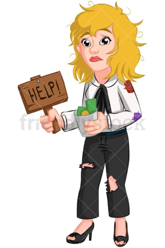 Destitute businesswoman needs help. PNG - JPG and vector EPS (infinitely scalable). Image isolated on transparent background.