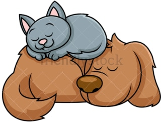 Dog and cat sleeping together. PNG - JPG and vector EPS file formats (infinitely scalable). Image isolated on transparent background.