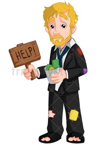 Failed businessman needs help. PNG - JPG and vector EPS (infinitely scalable). Image isolated on transparent background.