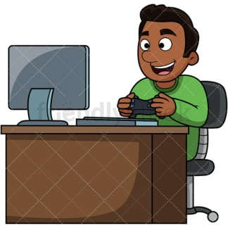 Happy black man playing pc games. PNG - JPG and vector EPS file formats (infinitely scalable). Image isolated on transparent background.