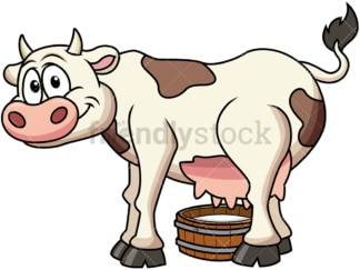 Happy cow milking. PNG - JPG and vector EPS file formats (infinitely scalable). Image isolated on transparent background.
