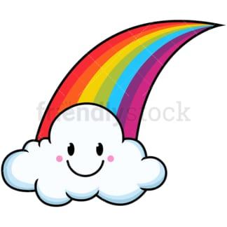 Kawaii rainbow single cloud. PNG - JPG and vector EPS file formats (infinitely scalable). Image isolated on transparent background.