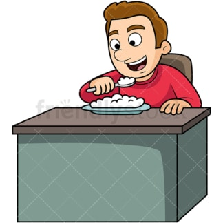 Man enjoying rice. PNG - JPG and vector EPS. Image isolated on transparent background.