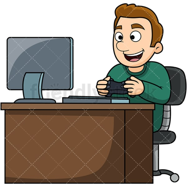 Man playing pc video games. PNG - JPG and vector EPS file formats (infinitely scalable). Image isolated on transparent background.