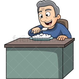 Old man enjoying rice. PNG - JPG and vector EPS. Image isolated on transparent background.