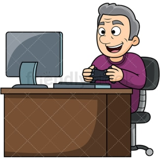 Old man playing video games. PNG - JPG and vector EPS file formats (infinitely scalable). Image isolated on transparent background.