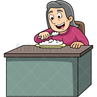 Old woman enjoying rice. PNG - JPG and vector EPS. Image isolated on transparent background.