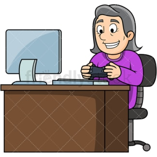 Old woman playing video games. PNG - JPG and vector EPS file formats (infinitely scalable). Image isolated on transparent background.