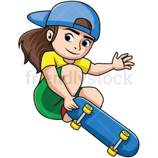 Skateboarding girl doing trick. PNG - JPG and vector EPS file formats (infinitely scalable). Image isolated on transparent background.