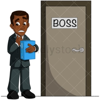 Stressed black man waiting for his boss. PNG - JPG and vector EPS (infinitely scalable). Image isolated on transparent background.