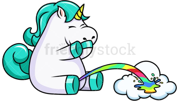 Unicorn pissing rainbow. PNG - JPG and vector EPS file formats (infinitely scalable). Image isolated on transparent background.