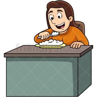Woman enjoying rice. PNG - JPG and vector EPS. Image isolated on transparent background.