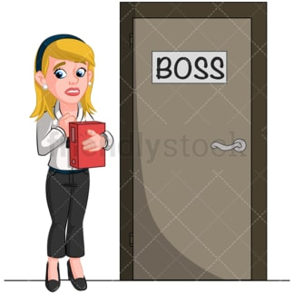 Worried business woman meeting boss. PNG - JPG and vector EPS (infinitely scalable). Image isolated on transparent background.