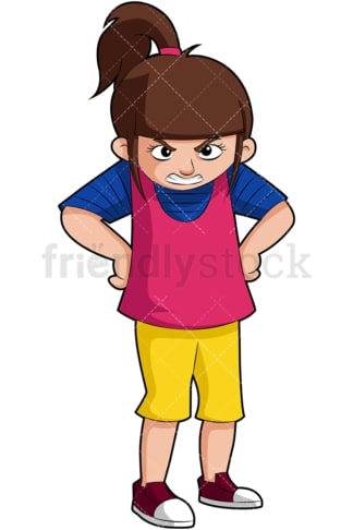 Angry little girl with mean look. PNG - JPG and vector EPS (infinitely scalable). Image isolated on transparent background.