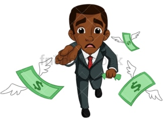 Black businessman pursuing money. PNG - JPG and vector EPS (infinitely scalable). Image isolated on transparent background.