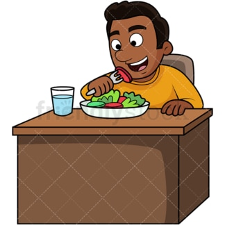 Black man enjoying salad. PNG - JPG and vector EPS. Image isolated on transparent background.
