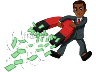 Black man holding money magnet. PNG - JPG and vector EPS (infinitely scalable). Image isolated on transparent background.