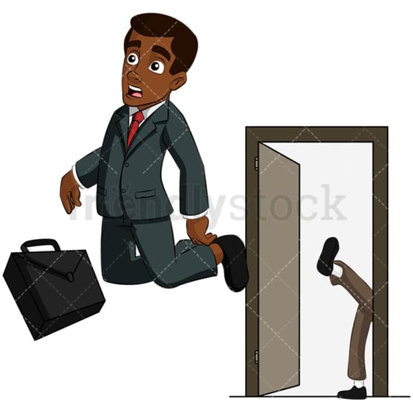 Black man kicked out of job interview. PNG - JPG and vector EPS (infinitely scalable). Image isolated on transparent background.