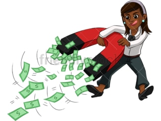 Black woman attracting money with magnet. PNG - JPG and vector EPS (infinitely scalable). Image isolated on transparent background.