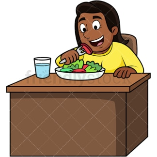 Black woman enjoying salad. PNG - JPG and vector EPS. Image isolated on transparent background.