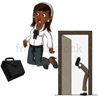 Black woman getting kicked out. PNG - JPG and vector EPS (infinitely scalable). Image isolated on transparent background.