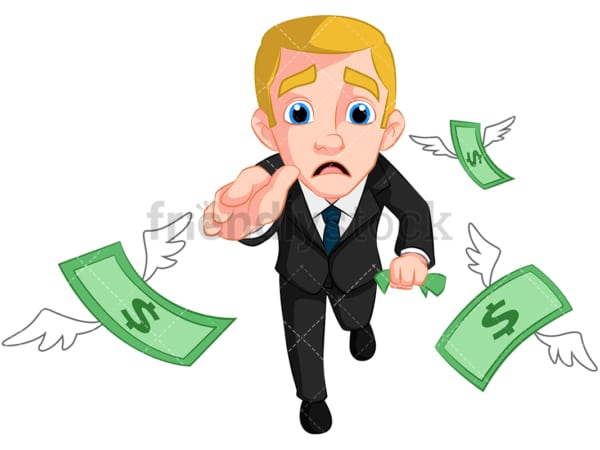 Business man chasing money. PNG - JPG and vector EPS (infinitely scalable). Image isolated on transparent background.